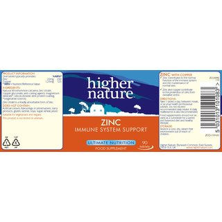 Higher Nature Zink 20mg - 90 Tabs