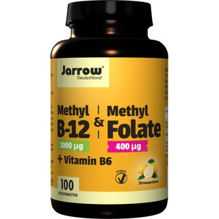 Jarrow Methyl-B12 & Methyl Folate + Vitamin B6 - 100 Tabl.