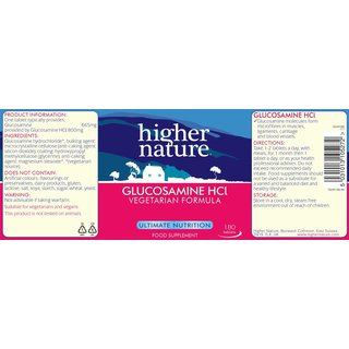 Higher Nature Glucosamine HCL vegan - 180 Tabs